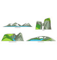 set norway travel icons natural landscapes vector image