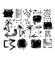 set of black ink hand drawing brushes collection vector image vector image