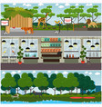 set of pet shop and zoo interior flat vector image