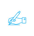 signing the document linear icon concept signing vector image