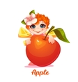 Sweet fairy with red apple vector image vector image