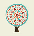 tree with boho style hand drawn mandala vector image vector image