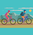 woman and a man ride a bicycle vector image