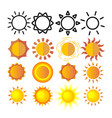 yellow sun icon set sunset sign sunrise vector image