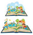 young children studying nature as an open book vector image vector image