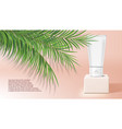 3d cream tube on white stage with tropical plants vector image vector image
