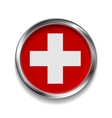 Abstract button with metallic frame Swiss flag vector image vector image