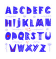 abstract childish hand drawn alphabet scandinavian vector image vector image