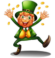An old man throwing coins for St Patricks Day vector image vector image