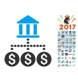 Bank Structure Icon With 2017 Year Bonus Symbols vector image vector image