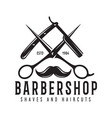 barber shop badge barbers hand lettering design vector image vector image