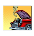 Broken car open hood engine smoke vector image