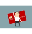 Businessman with big red credit card vector image vector image