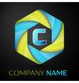 C Letter colorful logo in the hexagonal on black vector image vector image