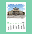 calendar sheet may month 2021 year germanyberlin vector image