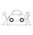 cartoon man and woman carrying broken car or vector image vector image