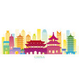 china skyline landmarks colorful silhouette vector image vector image