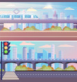 cityscape set empty street bridge with train vector image