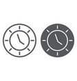clock line and glyph icon watch and hour time vector image vector image