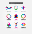 colorful vibrant logo set sign symbol icon vector image