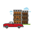 cuba travel famous car and architecture vector image vector image