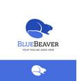 cute blue beaver logo vector image vector image