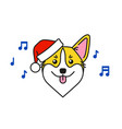 cute corgi dog in santa claus hat sings carols vector image vector image