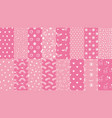 cute pink seamless patterns hand drawn hearts vector image vector image