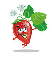cute strawberry character jumping and smilng vector image vector image
