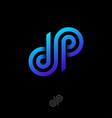d and p letter monogram consist blue lines vector image