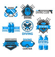 diving club isolated icons underwater swimming vector image