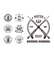 diving school deep water promo monochrome emblems vector image vector image