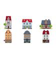 european facades houses set buildings of vector image