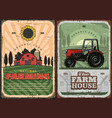 farming agriculture and farm house retro poster vector image