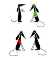 funny black dogs silhouette collection vector image vector image