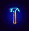 hammer neon sign vector image