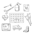 Hospital healthcare and medical objects vector image