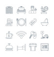 Hotel Service Thin Line Icons vector image