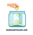 humanitarian aid promotional logotype with jar vector image vector image
