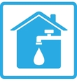 icon with home spigot and drop of water vector image