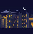landscape paper cuted art style night urban city vector image