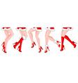 Line of Ladies Legs in a Festive Santa Costume vector image