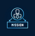 man with mission creative blue line icon vector image