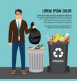 man with trash bag vector image