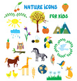 Nature icons set for kids vector image vector image