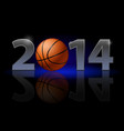 new year 2014 metal numerals with basketball vector image vector image