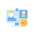 online conference flat color icon vector image