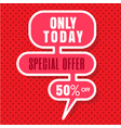 only today special offer 50 off red background ve vector image vector image