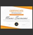 orange elegance horizontal certificate vector image