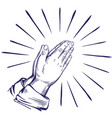 praying hands symbol christianity hand drawn vector image vector image